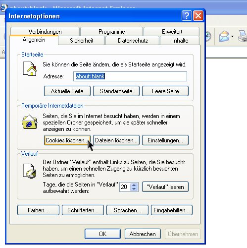 how to delete cache memory in internet explorer